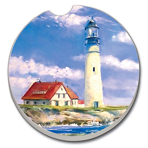 - Lighthouse - Single Ceramic Car Coaster by CounterArt