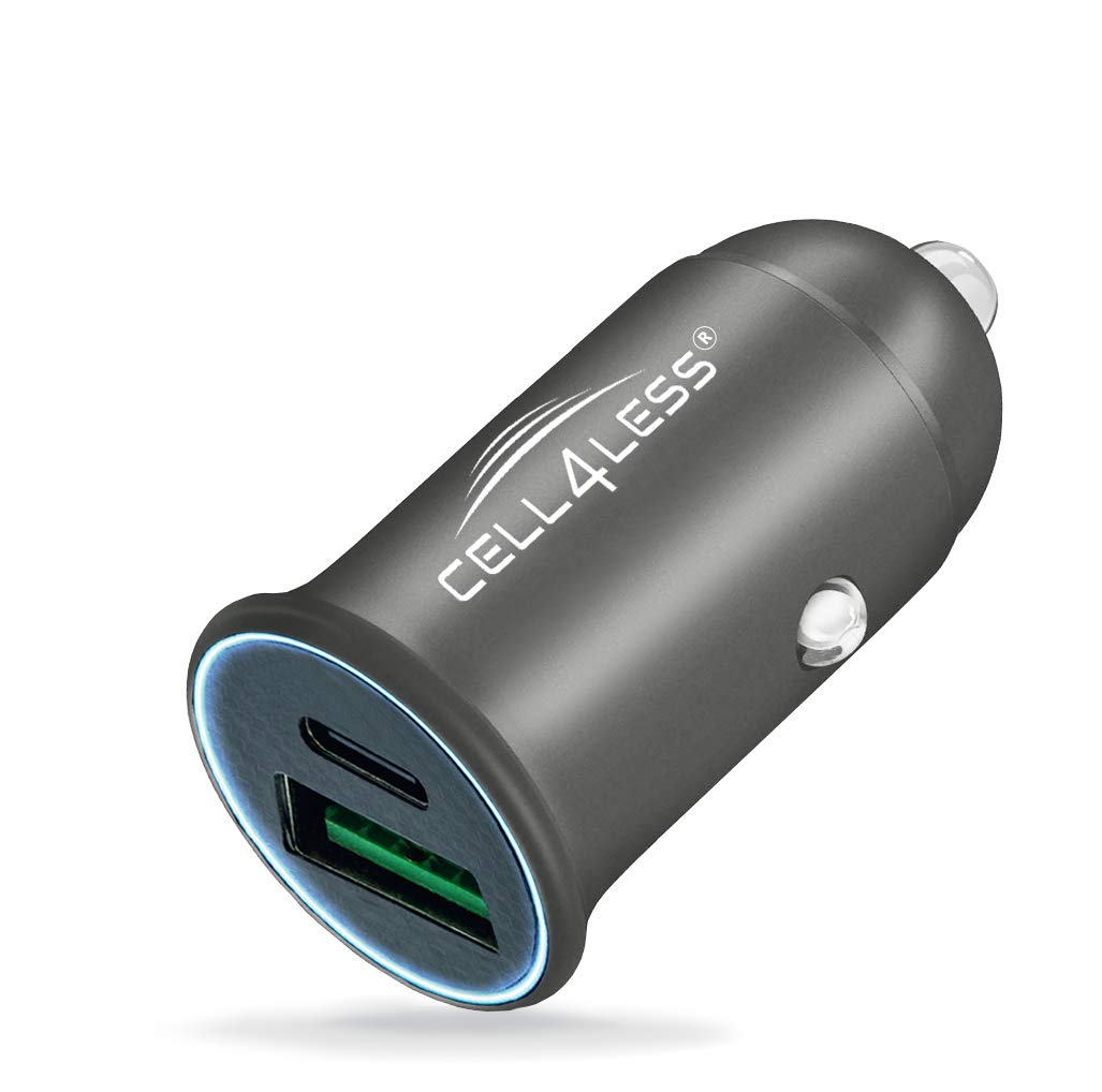 Dual Port USB-C PD 3.0 w//Max 30W Output and USB-A QC 3.0 w//Max 22.5W Output Mini and Portable Charger for iPhone 11 Plus Edge Black Car Charger Alloy Metal PD 3.0 /& QC Max Pro Note 10