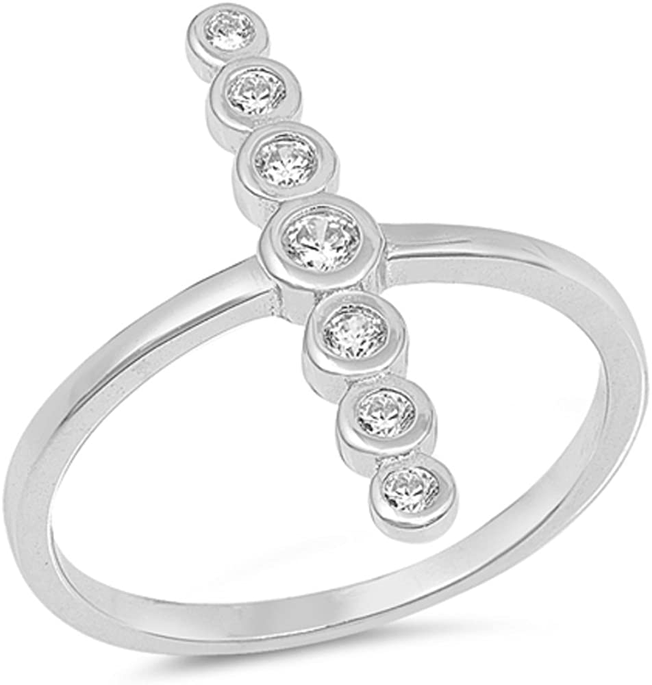 CloseoutWarehouse Cubic Zirconia Sideway Ring Sterling Silver