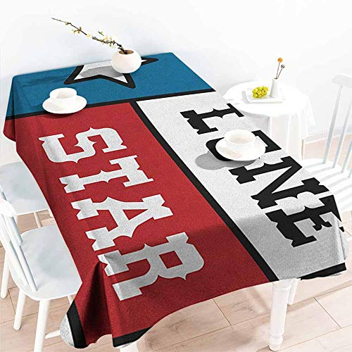 Small Rectangular Tablecloth,Texas Star Lone Star Flag United States of America Themed Patriotic Design,Party Decorations Table Cover Cloth,W52x70L Cobalt Blue Ruby White]()