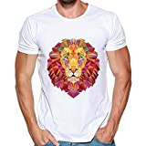 HTDBKDBK Tops T-Shirt for Man Men Summer Animal Printing Tees Cool Shirt Short Sleeve T Shirt Blouse Tops White