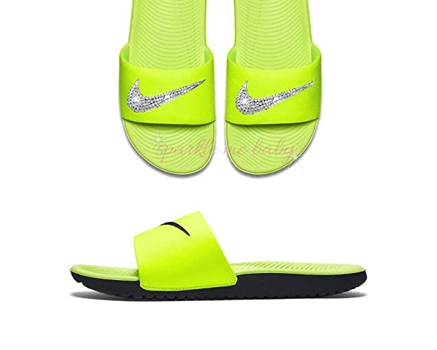 the best attitude a7851 c4b24 Image Unavailable. Image not available for. Color  Nike Slide Kawa Women s  Yellow ~ Swarovski Bedazzled Shoes Bling Nike Customized ...
