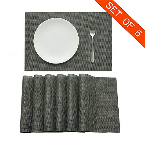 Familighter Placemats for Dining Table Set of 6 Woven Vinyl Washable Table Placemats Table Decoration Heat Insulation Stain Resistant Black Cyan