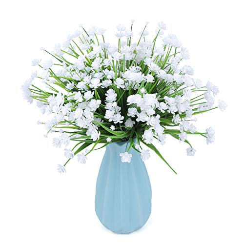CountryGrass Artificial Fake Flowers, 6 Bundles Outdoor UV Resistant Greenery Shrubs Plants Indoor Outside Hanging Planter Home Kitchen Office Wedding, Garden Decor (White)