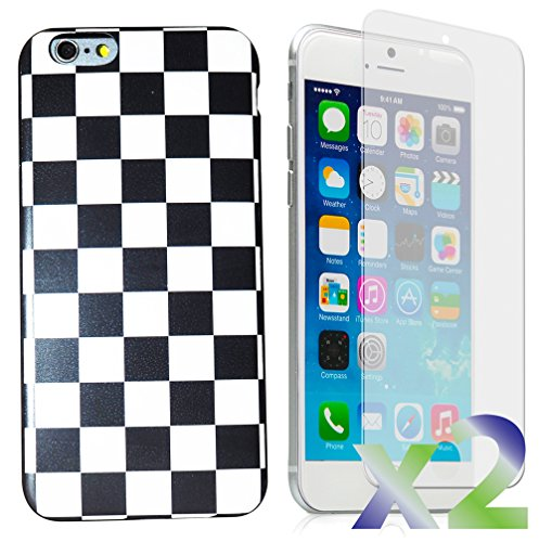 Exian iPhone 6/6s Screen Guards x2 and TPU Slim Case Checkered Pattern Black and White (Checkered Pattern Black)