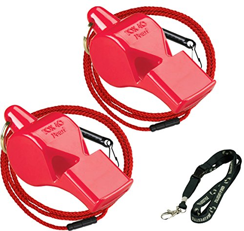 Fox 40 Pearl Safety Loud Pealess Outdoor, Survival, Boat Safety, Lifeguard Rescue, Marine Emergency Whistle + Breakaway Lanyards | 2pk Bundle + Koala Lanyard, Red