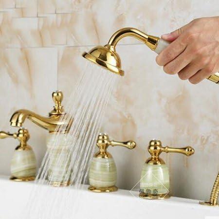 CHUNSHENN 蛇口卸売小売高級ゴールデンデッキはジェイドボディ浴室浴槽の蛇口の滝シンクミキサータップW/ハンドシャワーをマウント、イエロー バス用品