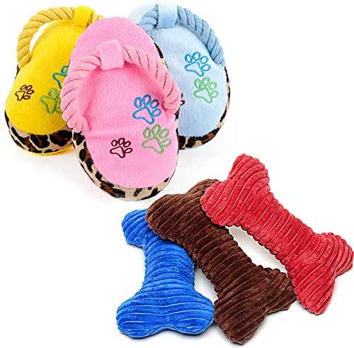 MAOYER Pet Dog Toy Vocal Plush Slippers pet Teddy Puppies Keji Law Fighting molars Biting Vocal Puppy Supplies - Pillow Slippers 6 Pieces