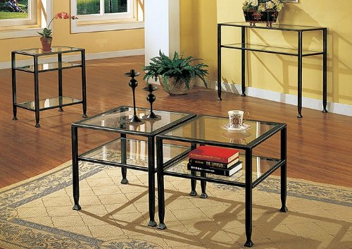 Metal Sofa Table With Glass Top, Black Finish