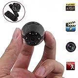 iTech Mini Cámara Espía 1080p/720p con Visión Nocturna por Infrarrojos, Detección de movimiento y Batería de 200 mAh Recargable, Soporta micro SD de Hasta 32GB
