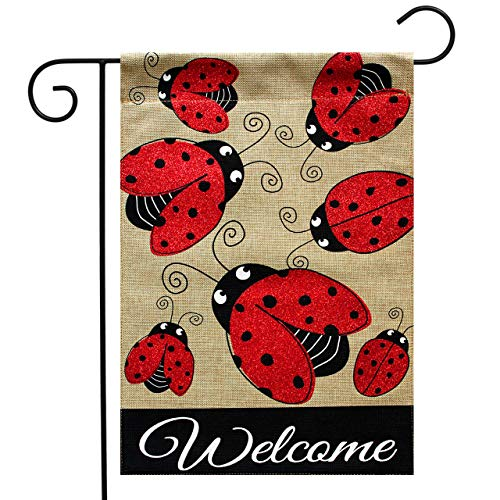 Ladybugs Banner Flag (Briarwood Lane Ladybug Gathering Burlap Spring Garden Flag Welcome 12.5