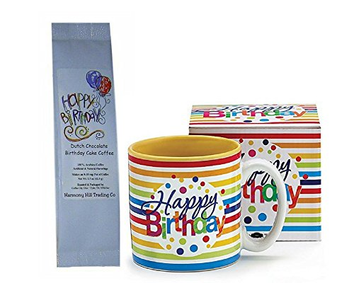 Happy Birthday Stripes and Dots Coffee Mug Cup with Dutch Chocolate Birthday Cake Coffee Gift Set 2 Item Bundle - Gift Set Cakes