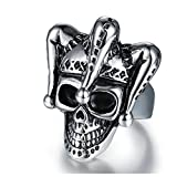 AMDXD Jewelry Engagement Ring Stainless Steel Skull with Hat Silver Rings Size 10
