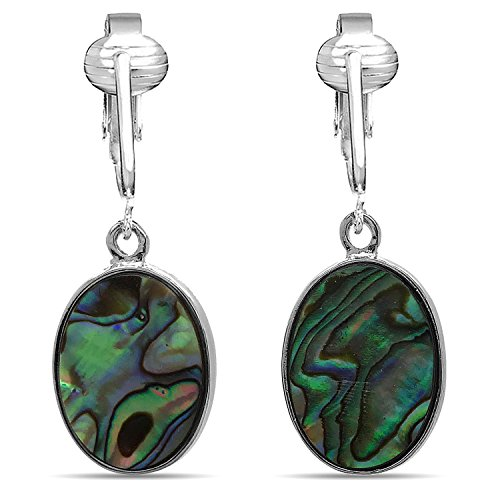Oval Paua Shell (Tahitian-Style Abalone Paua Shell Clip On Earrings-Authentic Ocean Shells Romantic Holiday, Authentic (Paua Oval))