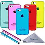 Wisdompro Soft TPU Clear Jelly Gel Protective Case for Apple iPhone 5c -Multi (5 Pack)