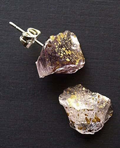 amazoncom gold splatter raw amethyst stud earrings handmade