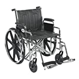 Drive Medical Sentra EC Heavy Duty Wheelchair with Various Arm Styles and Front Rigging Options, Black, Bariatric 20'