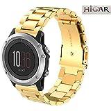 Higar Stainless Steel Metal Replacement Link Bracelet Strap for Garmin Fenix 3/Fenix 3 HR Smart Watch - Gold