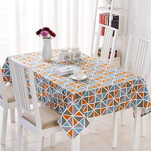 (Tablecloth Cotton Garden Geometric Cotton Linen Table Cloth Provence - Red 140cm180cm (common Table Cloth) (color : Blue orange, Size : W140L180CM))