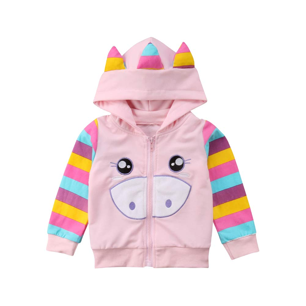 Franhais Toddler Baby Girls Cartoon Animal Hooded Zipper Jacket Coat, Pink
