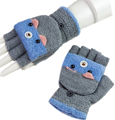 背の高い主観的統治可能Youchan(ヨウチャン) レディース 手袋 グローブ 指ぬき フード付き 動物 防寒 スマホ対応 キュート 学生 プレゼント 冬
