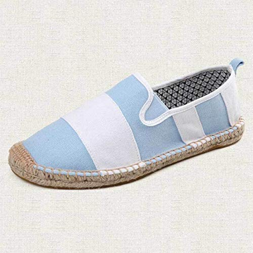 York Zhu Women Flats,Fashion Classic Stripe Hemp Fisherman Canvas Loafers -