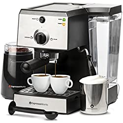 7 Pc All-In-One Espresso Machine & Cappuccino Maker Barista Bundle Set w/Built-In Steamer & Froth Wand (Inc: Coffee Bean Grinder, Portafilter, Frothing Cup, Spoon w/Tamper & 2 Cups), Stainless Steel