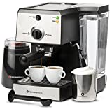 7 Pc All-In-One Espresso Machine & Cappuccino Maker Barista Bundle Set w/ Built-In Steamer & Frother (Inc: Coffee Bean Grinder, Portafilter, Milk Frothing Cup, Spoon/Tamper & 2 Cups), Stainless Steel