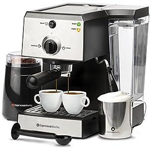 7 Pc All-In-One Espresso & Cappuccino Maker Machine Barista Bundle Set w/ Built-In Steam Wand (In