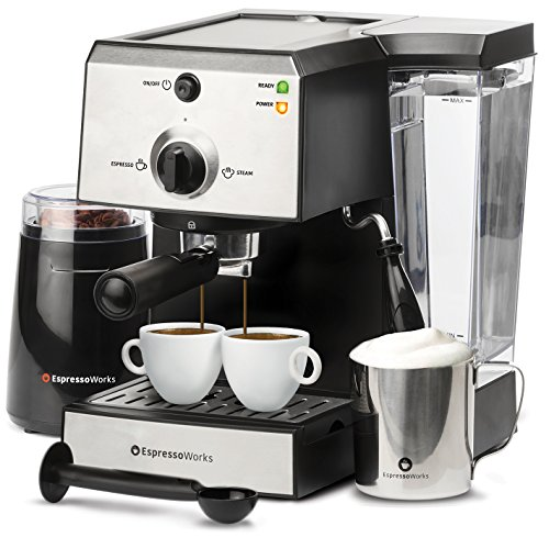 7 Pc All-In-One Espresso/Cappuccino Machine Bundle Set- (Includes: Electric Coffee Bean Grinder, Portafilter, Stainless Steel Frothing Cup, Measuring Spoon w/ Tamper & 2 Espresso Cups), Silver/Black by EspressoWorks