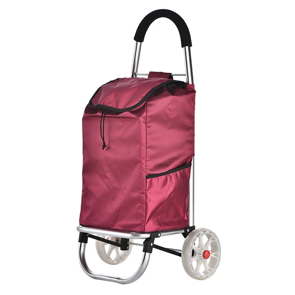 便利なショッピングカート小型プルカート、折り畳み式トロリー車のホームショックプルーフミュートスーパーロードベアリング、多色オプション (色 : Red) B07FKTX754  Red