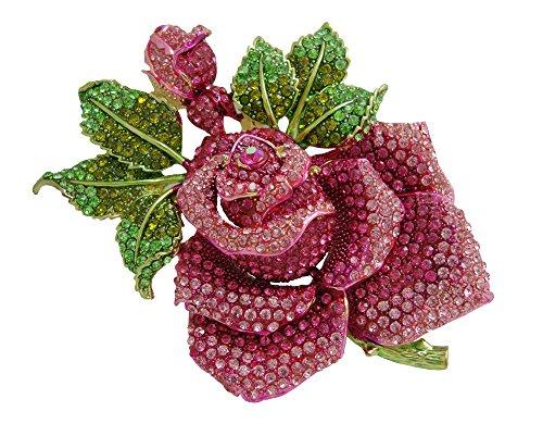 TTjewelry Pink Huge Rose Flower with Green Leaf Pink Bud Austrian Crystal Rhinestone Brooch Pin B20000101