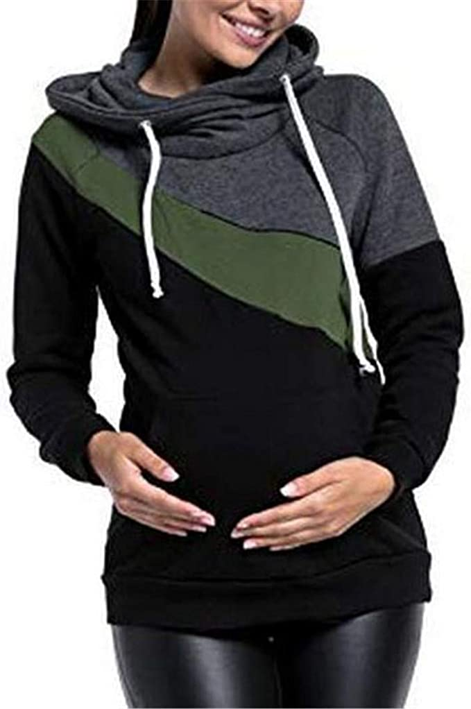 Hippolo Damen Stillshirt Umstandsmode Kapuzenpullover Farbabstimmung Still-Sweatshirt Kontrastdetails Stillen Lagendesign