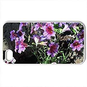 Attractive Flowers at the garden 60 - Case Cover for iPhone 4 and 4s (Flowers Series, Watercolor style, White)