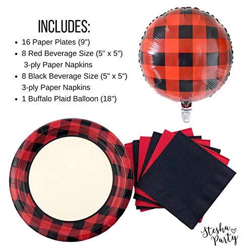 Lumberjack Party Pack - 16 Set Buffalo Plaid Birthday Plates Napkins Balloon