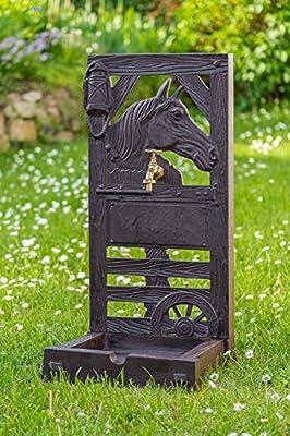 Standbrunnen Garten Brunnen Antik-Stil Aluminium Braun Pferd Gartenbrunnen
