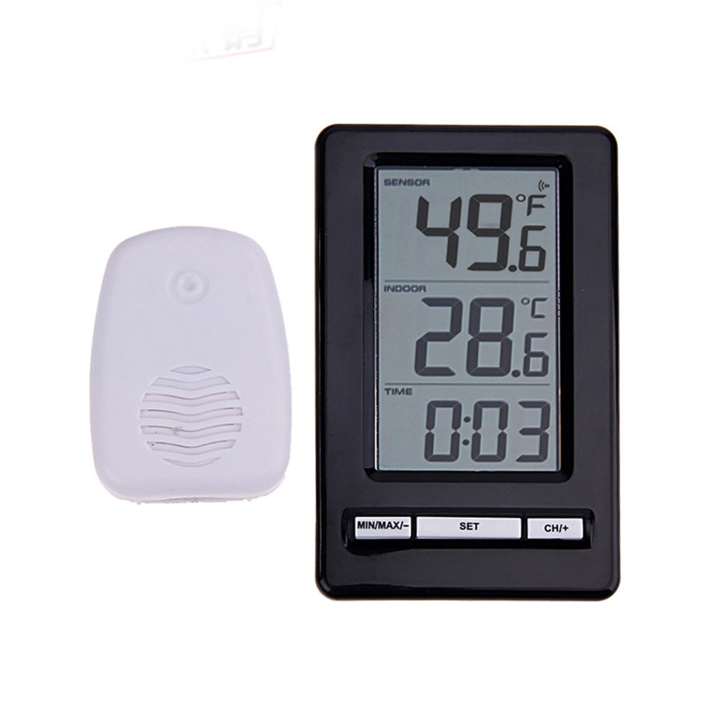 osierr6 Digital Indoor Outdoor Wireless Thermometer, Large LCD Display Electronic Digital Thermometer With 12H/24H Time Format, °C/°F Temperature Unit for Home Hotel Refrigerator Office