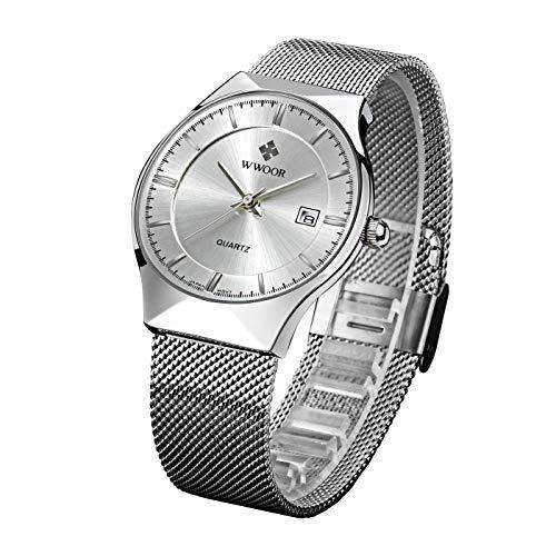 Mesh Stainless Steel Keychain - WWOOR New Top Luxury Brand Watch Men Ultra Thin Stainless Steel Mesh Band Quartz Wristwatch Fashion Casual Watches WR16 (White)