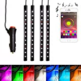 FICBOX 4pcs 7 Color LED Car Interior APP Music Control RGB Underdash Neon Strip Lighting Kit