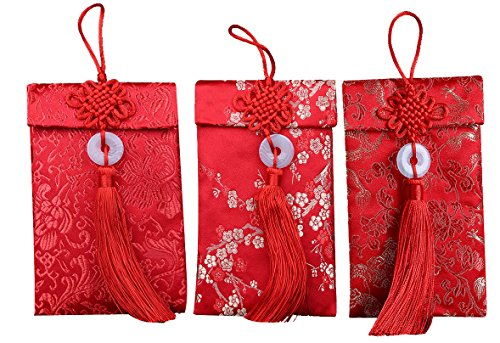 3 Pcs/Set Chinese Silk Red Envelopes Hongbao Pockets for 2018 Chinese New Year Gifts (Type A) by Elfjoy