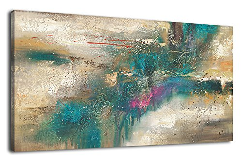 Abstract Modern Painting - arteWOODS Panoramic Canvas Art Abstract Painting Prints Wall Decor Contemporary Painting Modern Artwork Pictures Framed Ready to Hang 20