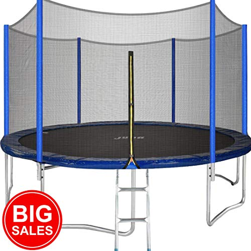 JUPA Kids Trampoline 15FT, TÜV Certificated Outdoor Trampoline with Enclosure Net Jumping Mat Safety Pad, Heavy Duty Round Trampoline for Backyard