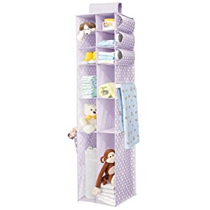 mDesign Soft Fabric Over Closet Rod Hanging Storage Organizer with Side Pockets for Child/Kids Room or Nursery - Polka Dot Print - Light Purple/White