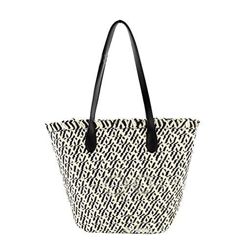 - Manyysi Large Woven Tote Straw Bag Handmade Zipper Top Handle Shoulder Bag Beach Bag (Black)