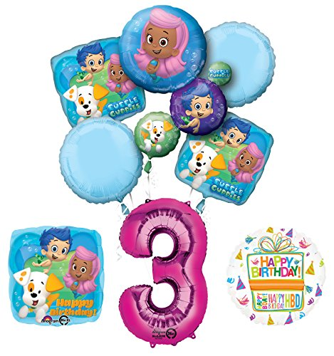 Bubble Guppies 3rd Birthday Party Supplies and Balloon Bouquet Decorations -