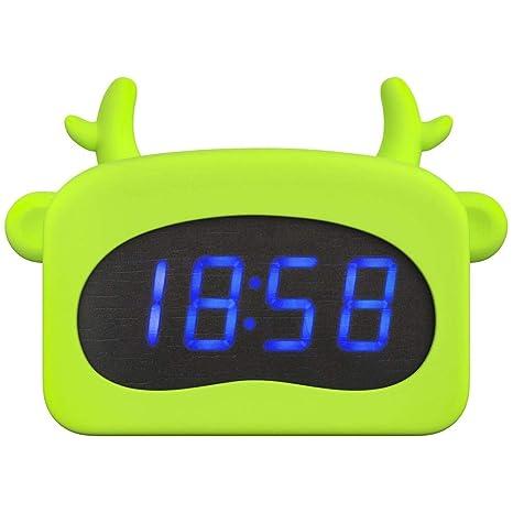 Mars Jun Mini LED Despertador Digital para niños,Hora Fecha ...