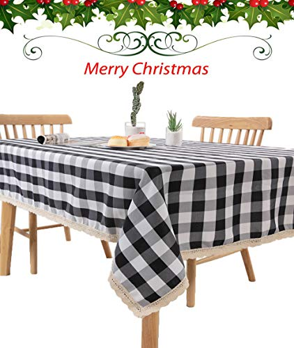 Nobildonna 55 x 72-Inch Gingham Checkered Tablecloth, Black & White Checker, Rectangular Lace Polyester Tablecloth (White Tablecloth Black Christmas And)