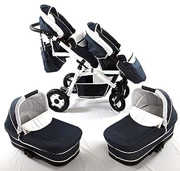 Carro gemelar 3 piezas. Capazos+sillas+grupo 0+accesorios. DENIM: Amazon.es: Bebé