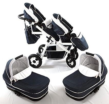 Carro gemelar 3en1 ISOFIX. Capazos+sillas+sillas de coche+accesorios