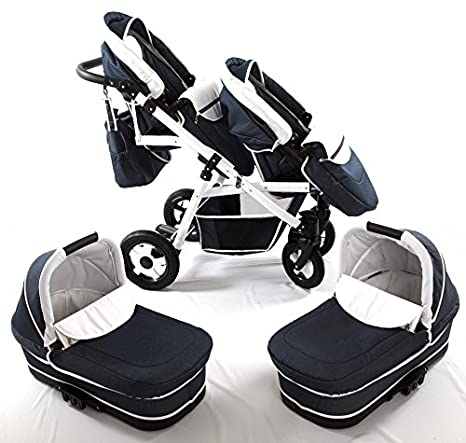 Carro gemelar 3 piezas. Capazos+sillas+grupo 0+accesorios ...